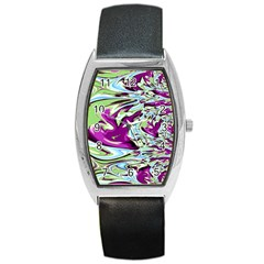 Purple, Green, And Blue Abstract Barrel Metal Watches