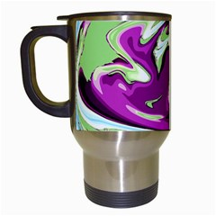 Purple, Green, and Blue Abstract Travel Mugs (White)