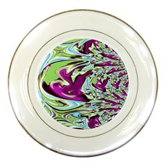 Purple, Green, And Blue Abstract Porcelain Plates