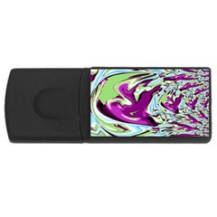 Purple, Green, And Blue Abstract Usb Flash Drive Rectangular (4 Gb)