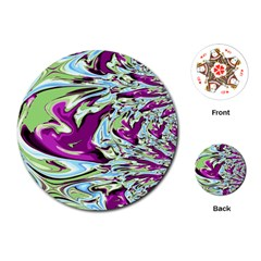 Purple, Green, And Blue Abstract Playing Cards (round)