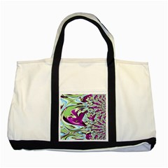 Purple, Green, and Blue Abstract Two Tone Tote Bag