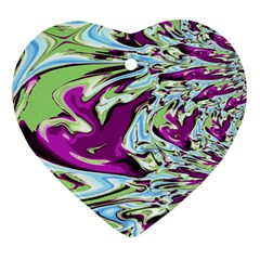 Purple, Green, and Blue Abstract Heart Ornament (2 Sides)