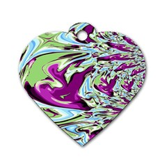 Purple, Green, and Blue Abstract Dog Tag Heart (Two Sides)