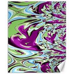 Purple, Green, and Blue Abstract Canvas 11  x 14