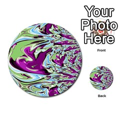 Purple, Green, And Blue Abstract Multi Purpose Cards (round)