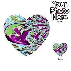 Purple, Green, and Blue Abstract Multi-purpose Cards (Heart)