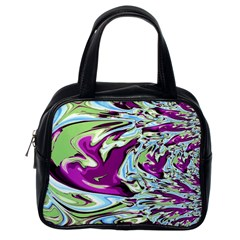 Purple, Green, And Blue Abstract Classic Handbags (one Side)