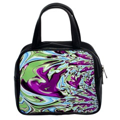 Purple, Green, and Blue Abstract Classic Handbags (2 Sides)