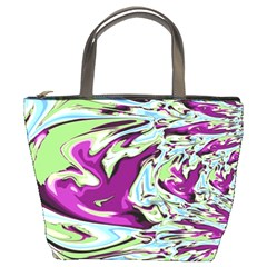 Purple, Green, And Blue Abstract Bucket Bags