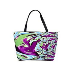 Purple, Green, and Blue Abstract Shoulder Handbags