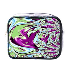 Purple, Green, And Blue Abstract Mini Toiletries Bags
