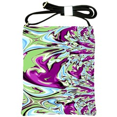 Purple, Green, and Blue Abstract Shoulder Sling Bags