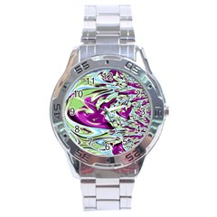 Purple, Green, and Blue Abstract Stainless Steel Men s Watch