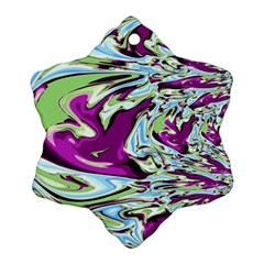 Purple, Green, and Blue Abstract Snowflake Ornament (2-Side)