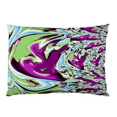 Purple, Green, And Blue Abstract Pillow Cases (two Sides)