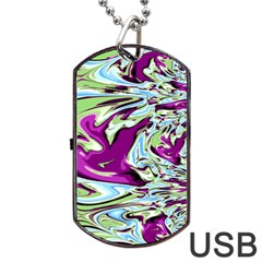 Purple, Green, And Blue Abstract Dog Tag Usb Flash (two Sides)