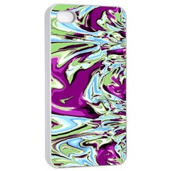 Purple, Green, And Blue Abstract Apple Iphone 4/4s Seamless Case (white)