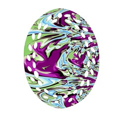 Purple, Green, and Blue Abstract Oval Filigree Ornament (2-Side)