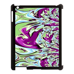 Purple, Green, and Blue Abstract Apple iPad 3/4 Case (Black)
