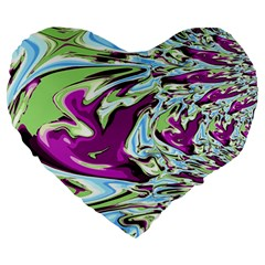 Purple, Green, And Blue Abstract Large 19  Premium Heart Shape Cushions