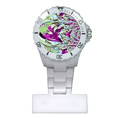 Purple, Green, And Blue Abstract Nurses Watches