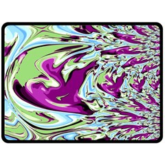 Purple, Green, And Blue Abstract Double Sided Fleece Blanket (large)
