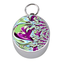 Purple, Green, and Blue Abstract Mini Silver Compasses