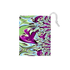 Purple, Green, and Blue Abstract Drawstring Pouches (Small)