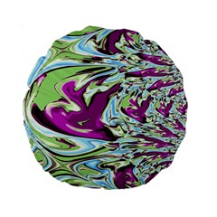 Purple, Green, And Blue Abstract Standard 15  Premium Flano Round Cushions