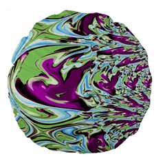 Purple, Green, And Blue Abstract Large 18  Premium Flano Round Cushions