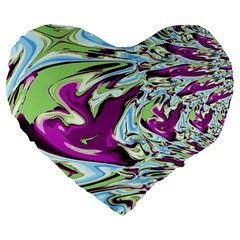 Purple, Green, And Blue Abstract Large 19  Premium Flano Heart Shape Cushions
