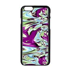 Purple, Green, and Blue Abstract Apple iPhone 6 Black Enamel Case