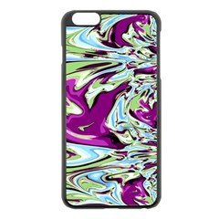 Purple, Green, and Blue Abstract Apple iPhone 6 Plus Black Enamel Case