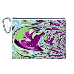 Purple, Green, And Blue Abstract Canvas Cosmetic Bag (l)