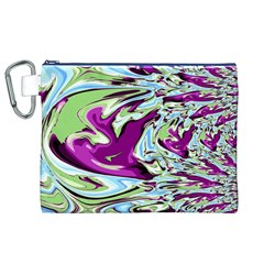 Purple, Green, and Blue Abstract Canvas Cosmetic Bag (XL)
