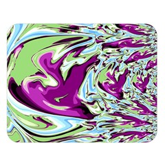 Purple, Green, and Blue Abstract Double Sided Flano Blanket (Large)