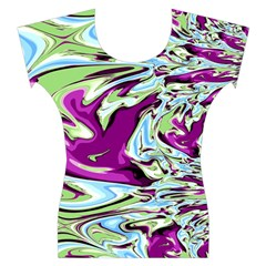 Purple, Green, and Blue Abstract Women s Cap Sleeve Top