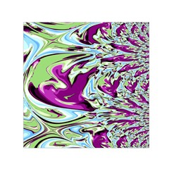 Purple, Green, and Blue Abstract Small Satin Scarf (Square)