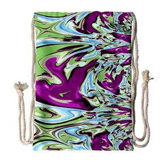 Purple, Green, and Blue Abstract Drawstring Bag (Large)