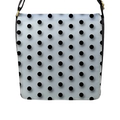 Black And White Polka Dot  Flap Messenger Bag (l)