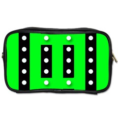 Florescent Green Polka-dot  Toiletries Bags 2-Side