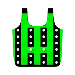 Florescent Green Polka-dot  Full Print Recycle Bags (M)