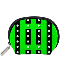Florescent Green Polka-dot  Accessory Pouches (Small)