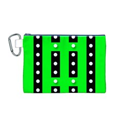 Florescent Green Polka-dot  Canvas Cosmetic Bag (M)