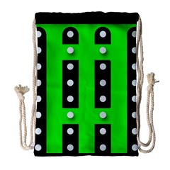 Florescent Green Polka-dot  Drawstring Bag (Large)