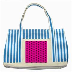 Hot Pink Black Polka-dot  Striped Blue Tote Bag