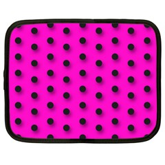 Hot Pink Black Polka-dot  Netbook Case (XL)
