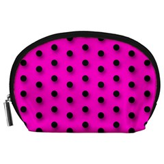 Hot Pink Black Polka-dot  Accessory Pouches (Large)