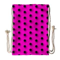 Hot Pink Black Polka-dot  Drawstring Bag (Large)